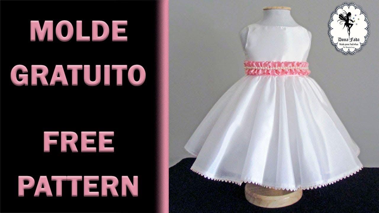 e0183072d1 Vestido de Tafetá Pérola Molde Gratuito 12 meses - YouTube