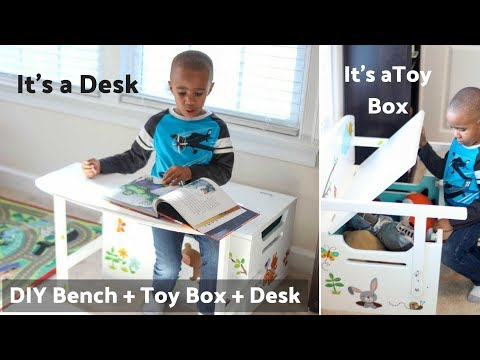 DIY Kid's Bench with Toy Box Storage and Desk