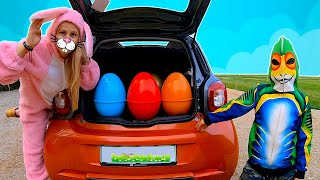 Bunny's car is broken down l Timko and colorful easter eggs