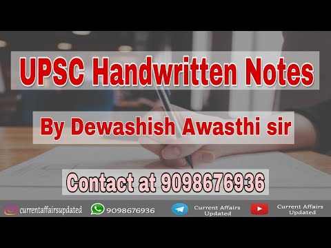 Handwritten Notes - For UPSC