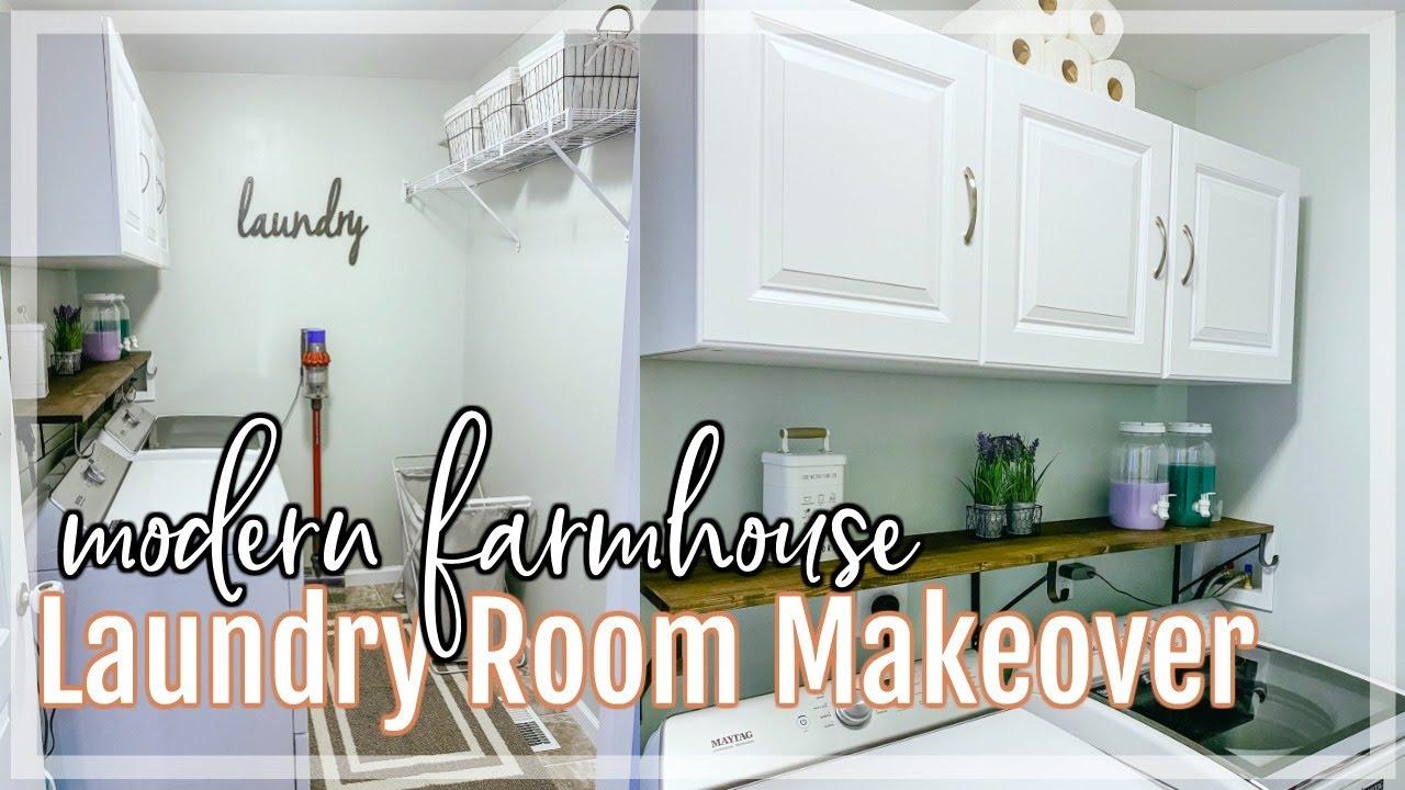 DIY LAUNDRY ROOM MAKEOVER ON A BUDGET | Decorating Ideas | Modern Farmhouse Laundry Room DIY
