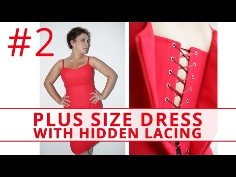 How to make PLUS SIZE dress with HIDDEN LACING. Sew plus size dress.