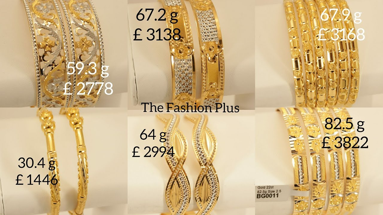 22 Carat Gold Diamond Cut Bangles Designs With Weight And Price The Fashion Plus