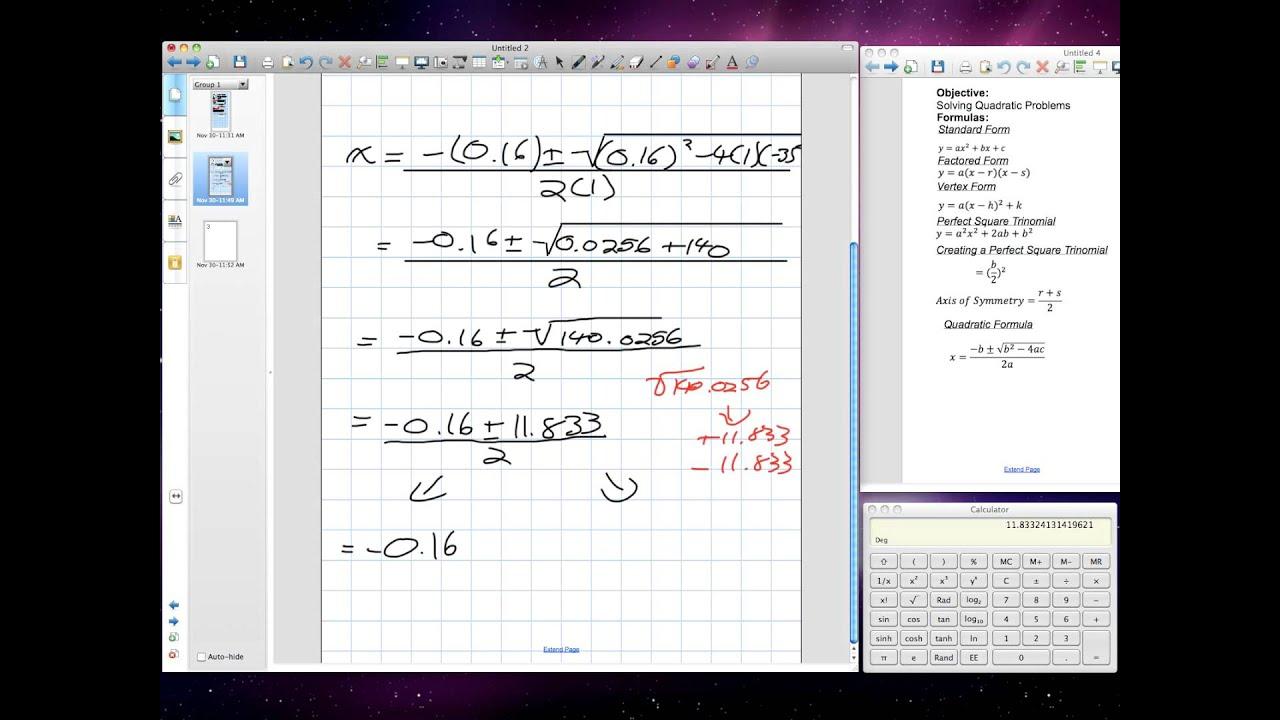 Solving Problems Using Quadratic Equations Grade 10 Academic Chapter 6 Review 11 30 11 V