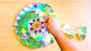 Diy Cd Wall Hanging/cd Wreath For Christmas/ Recycled Old Waste Cd Wall Hangings/best Out Of Waste