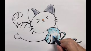 How to Draw a Cat | Kitten playing a ball of yarn for Kids learning|Lovely Kitten|怎樣畫可愛小貓