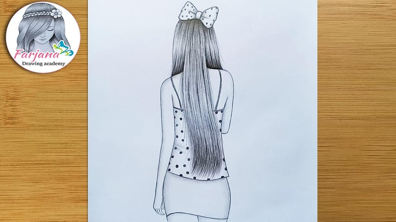 Easy way to Draw a girl with long hair (back side)  || How to draw a girl || Pencil sketch tutorial