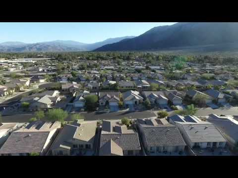 Flying drone over palmsprings