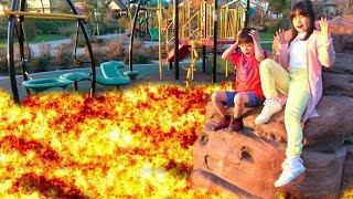 溶岩 噴火!!? 公園で遊べない!! マグマ おゆうぎ こうくんねみちゃん floor is lava challenge in park Preted play thumbnail