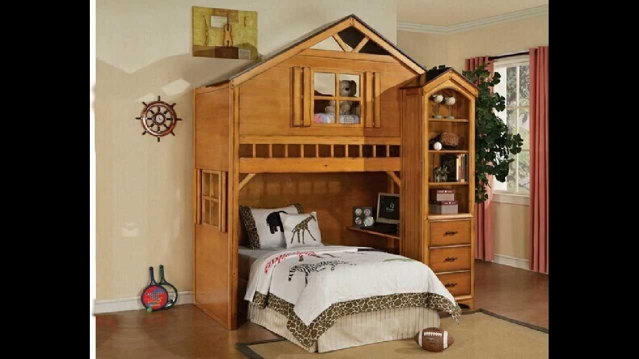 Tree House Style Rustic Oak Finish Wood Kids Loft Bed Bunk Bed Set   YouTube