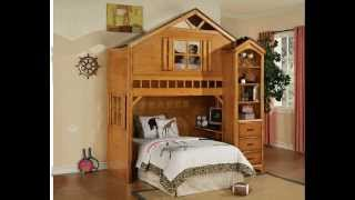 Tree House Style Rustic Oak Finish Wood Kids Loft Bed Bunk Bed Set