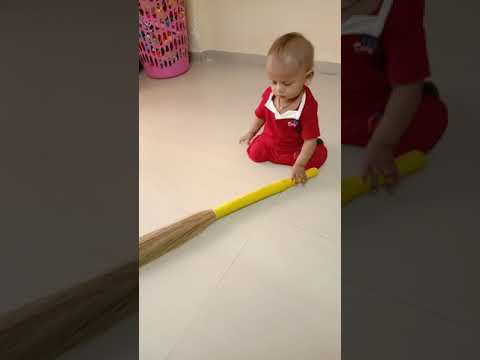 how to clean a house perfect way with broom.. toddler cleaning our house..😂