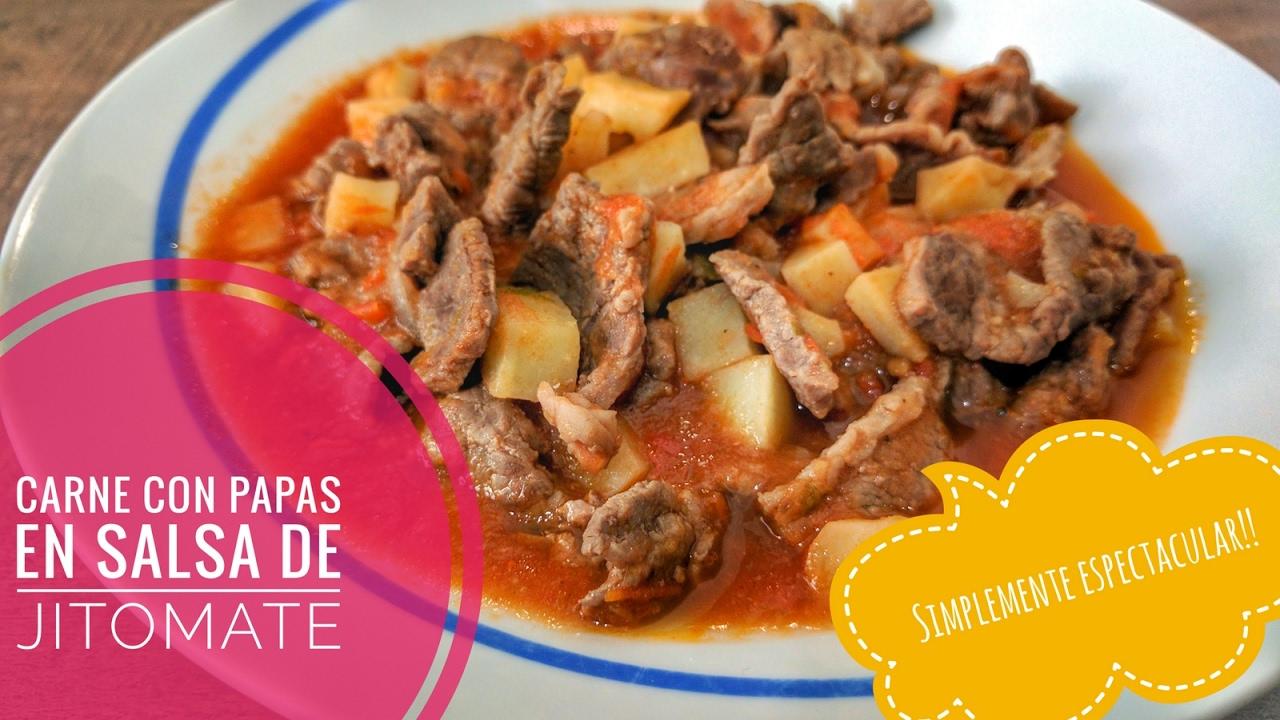 Carne Con Papas En Salsa De Jitomate Elsazóndesilvia Youtube