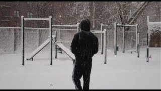 Hitting the park on a snow ❄ day after weights set wasn't a good move