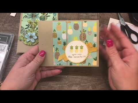 How to create 2 fun cards with a simple layout using printed paper