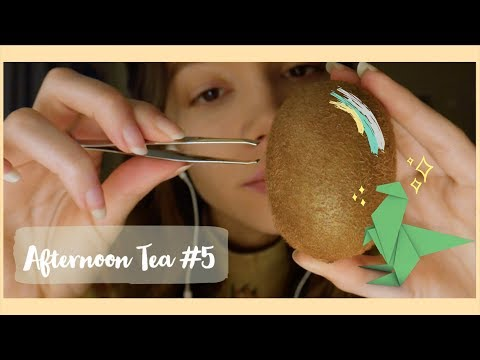 ASMR | Afternoon Tea #5 ☕️ Épilation du Kiwi & Origami thumbnail