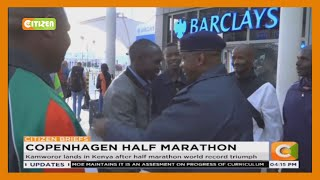 World half marathon record holder Geoffrey Kamworor lands in Kenya