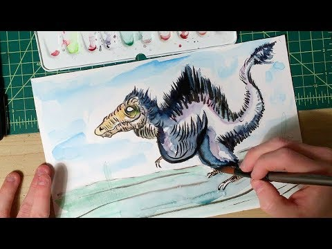 Feathered Dinosaur Time Lapse Drawing and Painting