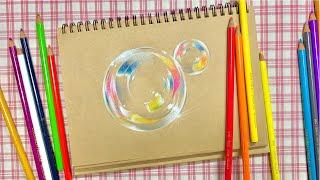 정말정말 너무 쉬운, 색연필로 비눗방울 그리기 / Ve…