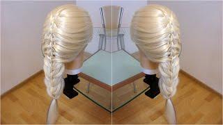 Коса четырёхпрядная с дополнительными прядями. Плетения. Видео-урок