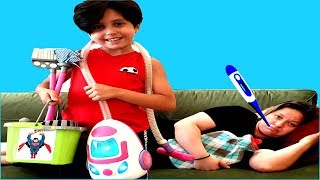 Mommy has a cold,  Sado helps Mommy ! Kids Pretend Play with Cleaning Toys