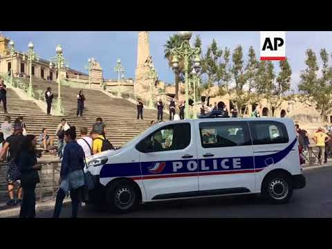 Scenes outside Marseille station after knife attack