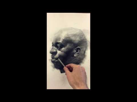 """Ricky"", charcoal pencil drawing demo by Zimou Tan"
