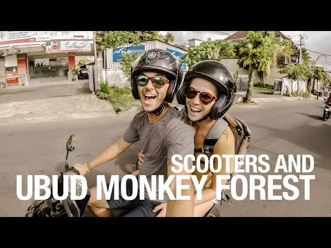 Ubud Monkey Forest and scooter in the rain!