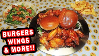Lake Monster Food Challenge w/ Bacon Burgers & Jumbo Wings!!