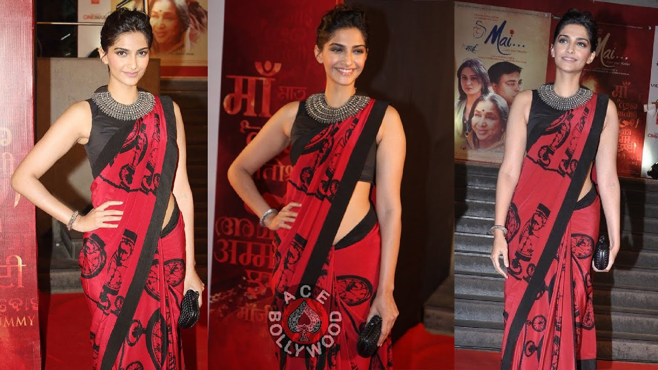 Sonam Kapoor Sleeveless Blouse On Red Saree Style Setter