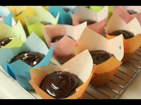 Devil's Food Cupcakes with Chocolate Ganache Frosting using Yolli Tulip Wrappers