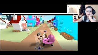 Adorable little Girl playing roblox