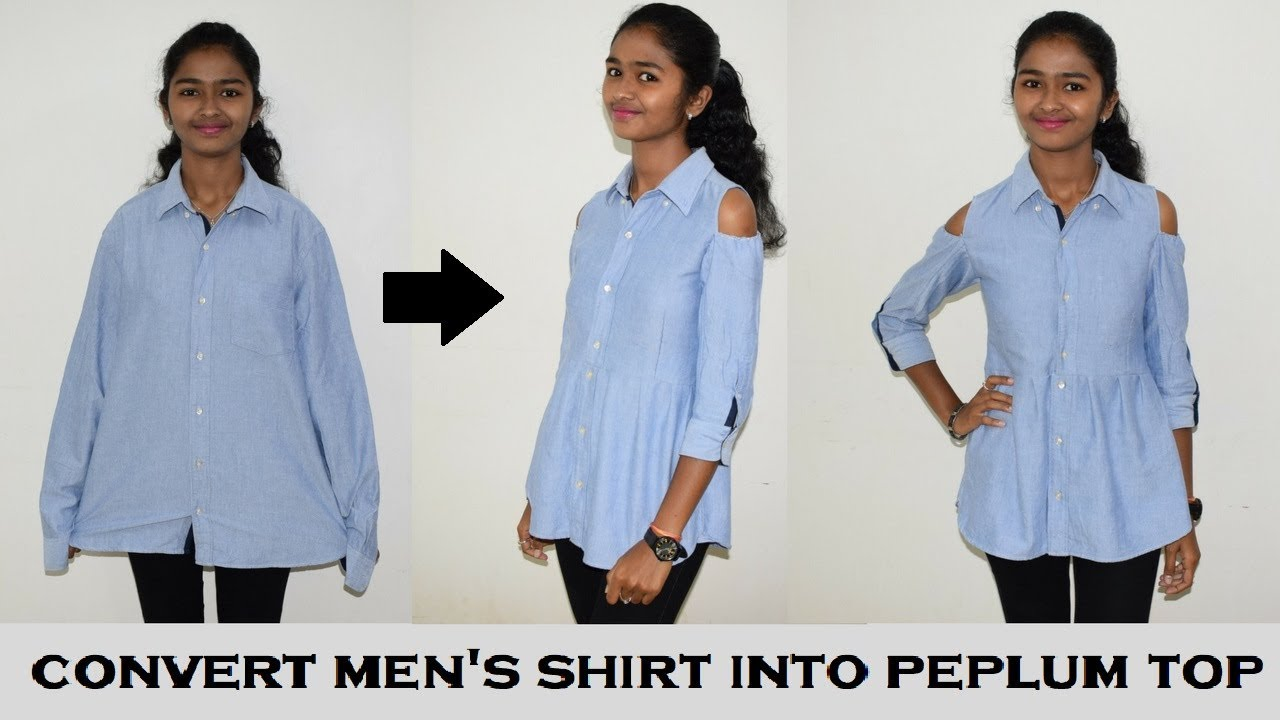 71e6ec8f6dcb28 DIY: Convert Men's Shirt into Cold Shoulder Peplum Shirt/Ruffled Shirt |  Arpana