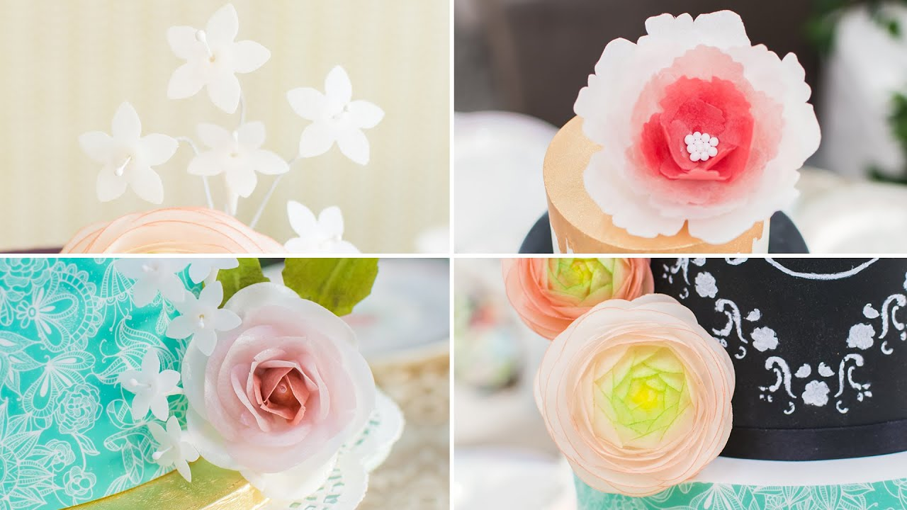 C mo hacer flores con papel de arroz o wafer paper for Papel de arroz para decorar muebles