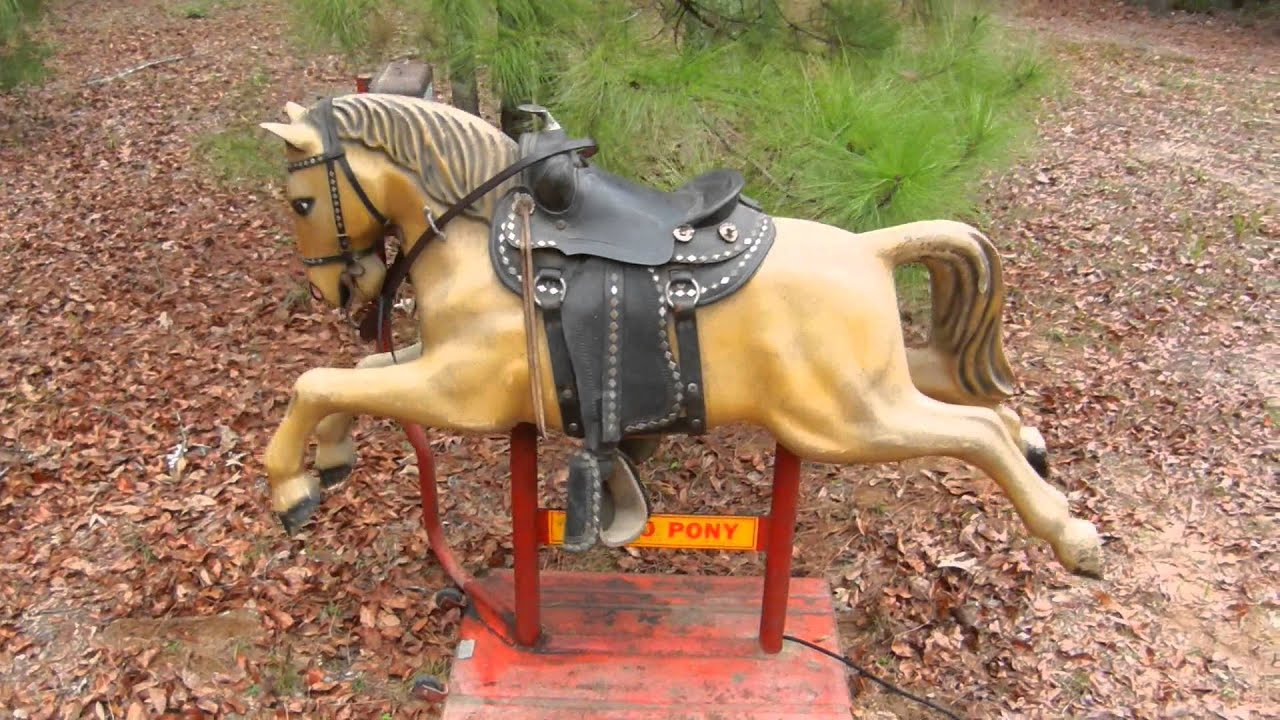 Ride The Pony >> A great vintage coin operated Rodeo Pony kiddie ride - YouTube