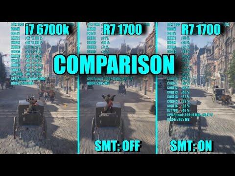 16 GAMES Ryzen 7 1700 SMT OFF & ON - i7 6700k & GTX 1070 OC | 1080p | FRAME-RATE TEST COMPARISON