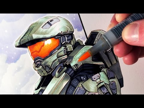 Let's Draw MASTER CHIEF from HALO - FAN ART FRIDAY