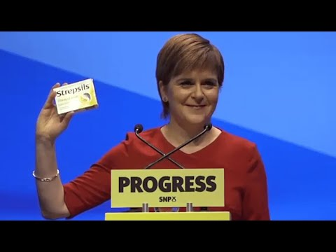 Nicola Sturgeon mocks Theresa May with box of Strepsils