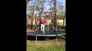 Grandpa jumping on trampoline