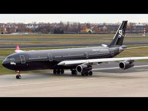 RARE! HiFly Airbus A340-300 ALL BLACK [9H-TQM] HEAVY Takeoff from Berlin Tegel (TXL) [Full HD]