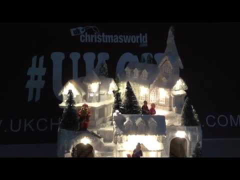 LED Lit White Winter Christmas Scene With Moving Train