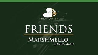 Marshmello & Anne-Marie - FRIENDS - LOWER Key (Piano Karaoke / Sing Along)