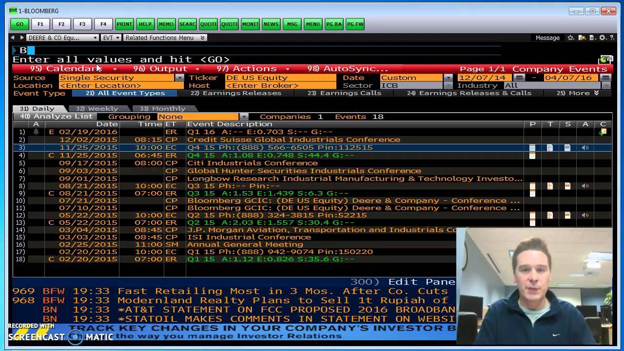 Bloomberg Terminal Equity Screens: DVD, EVT, RV etc