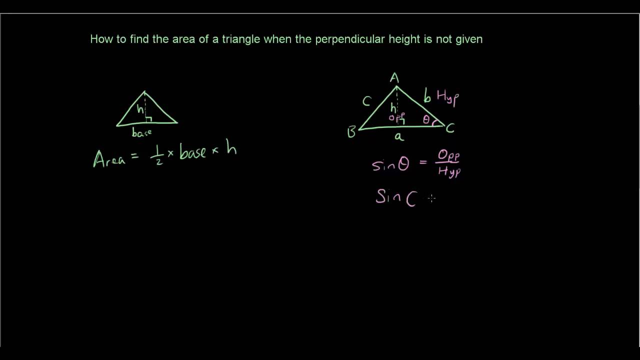 Trigonometry Lesson 5  Finding The Area Of A Triangle Without  Perpendicular Height