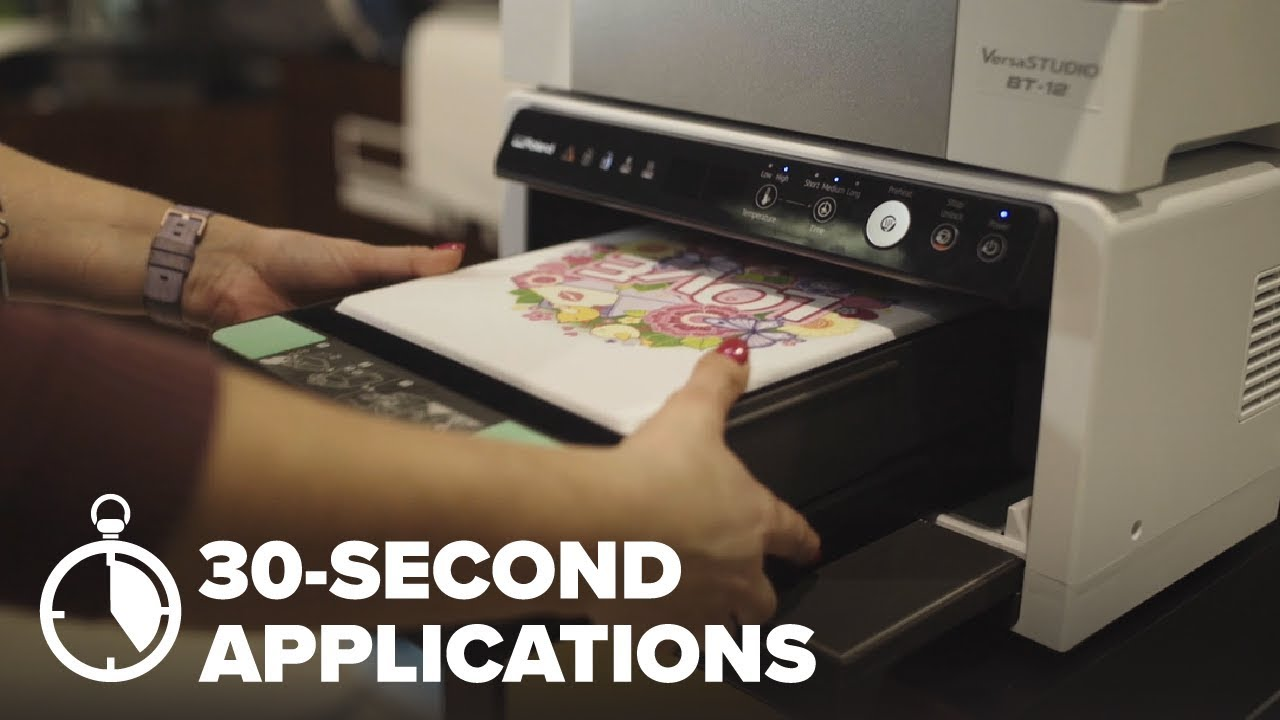 30-Second Application – DTG Printing a T-Shirt