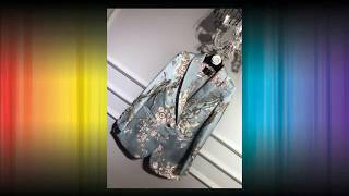 Fashion Satin Flowers Jacquard Embroidery Blazer