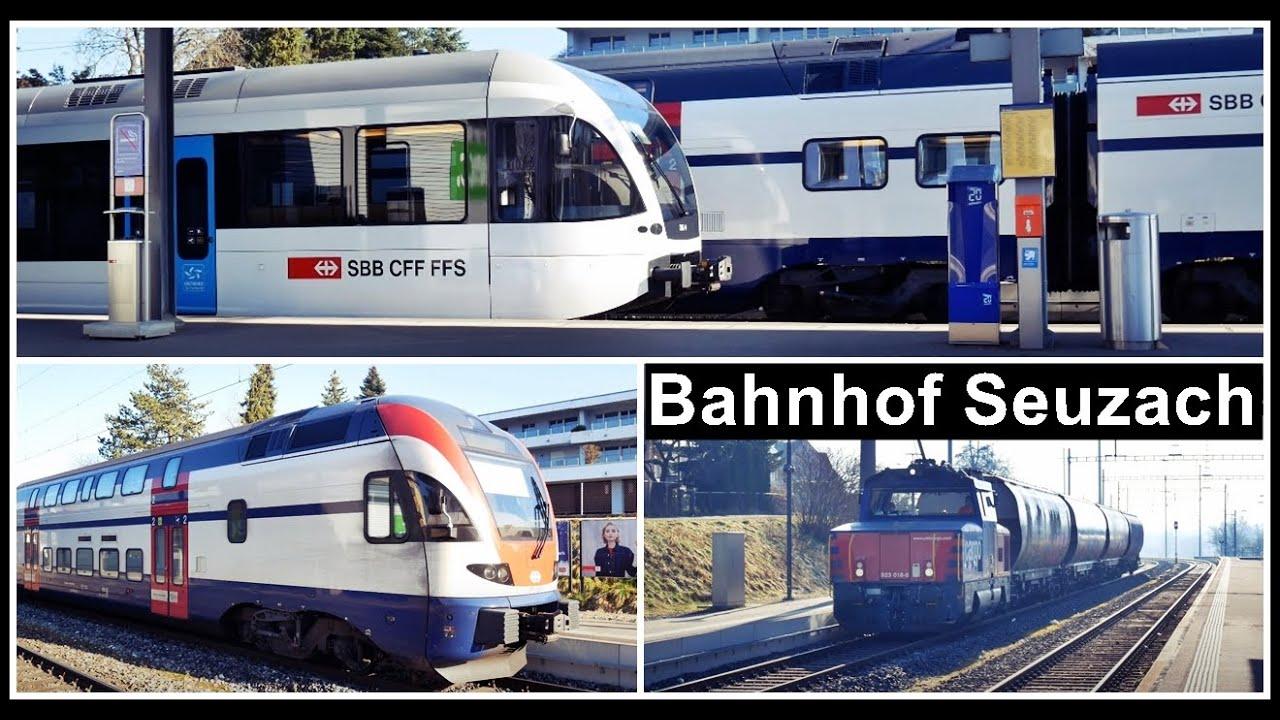 Viel Morgensonne und Züge beim Bahnhof Seuzach, Kanton ...