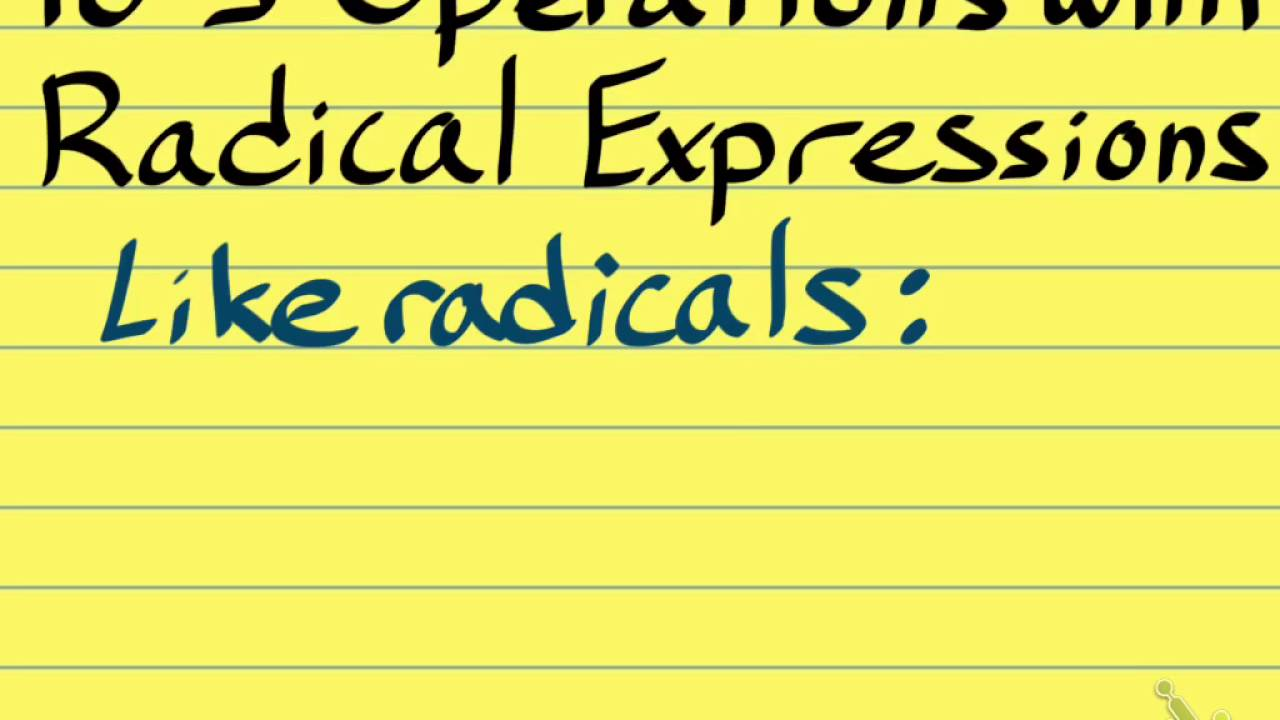 10 3 Operations With Radical Expressions Youtube