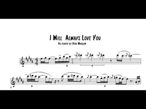 Whitney Houston I Will Always Love You - Tenor Saxophone Solo Transcription by Kirk Whalum