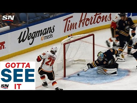GOTTA SEE IT: Carter Hutton Makes Great Stick Save, Whistle Saves Goal Against